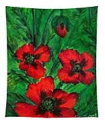 3 Red Poppies Tapestry