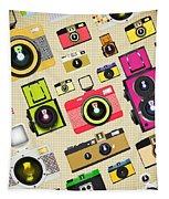 Retro Camera Pattern Tapestry by Setsiri Silapasuwanchai