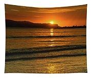 Vibrant Orange Sunrise Seascape Tapestry
