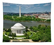 View Of The Jefferson Memorial And Washington Monument Tapestry