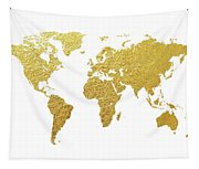 World Map Gold Foil Tapestry