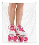 Young Woman Wearing Roller Derby Skates Tapestry