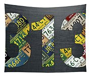 313 Area Code Detroit Michigan Recycled Vintage License Plate Art Tapestry