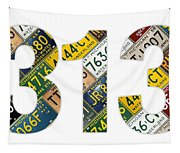 313 Area Code Detroit Michigan Recycled Vintage License Plate Art On White Background Tapestry