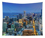 360chicago Rivers Begin To Glow - Skyline Panorama Tapestry