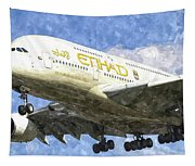 Etihad Airlines Airbus A380 Art Tapestry