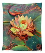 Teal And Peach Waterlilies Tapestry