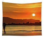 Orange Sunrise Seascape And Silhouettes Tapestry