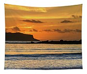 Orange Sunrise Seascape Tapestry