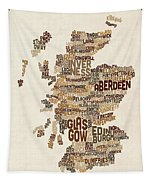Scotland Typography Text Map Tapestry