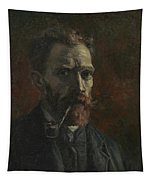 Self-portrait With Pipe Tapestry