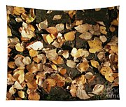 Silver Birch Leaves Lying On A Brick Path In A Cheshire Garden On An Autumn Day   England Tapestry