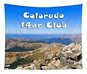 Hikers And Scenery On Mount Yale Colorado Tapestry