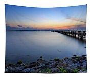 Melbourne Beach Pier Sunset Tapestry