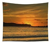 Orange Sunrise Seascape Tapestry