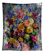 7a Abstract Floral Painting Digital Expressionism Tapestry