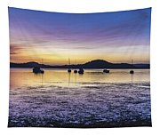 Dawn Waterscape Over The Bay With Boats Tapestry