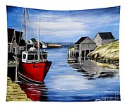 A Beautiful Day At Peggy's Cove  Tapestry