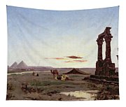 A Bedouin Encampment By A Ruined Temple  Tapestry
