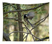 A Black Capped Chickadee Taking Off Tapestry