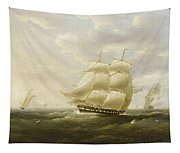 A British Frigate Bowling Down The Channel On A Breezy Day Past The Eddystone Lighthouse Tapestry