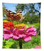 A Butterfly On The Pink Zinnia Tapestry
