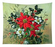 A Christmas Arrangement With Holly Mistletoe And Other Winter Flowers Tapestry