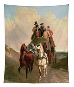 A Coach And Four On An Open Road  Tapestry