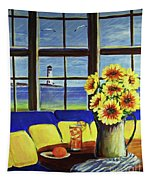 A Coastal Window Lighthouse View Tapestry
