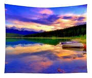 A  Colourful Evening At Lake Patricia Tapestry