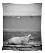A Cow On The Beach Tapestry