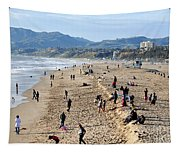 A Day At The Beach In Santa Monica Tapestry
