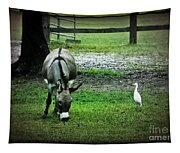 A Donkey And His Bird Tapestry