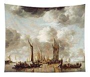 A Dutch Yacht Firing A Salute As A Barge Pulls Away Tapestry