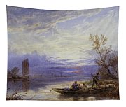 A Ferry At Sunset Tapestry