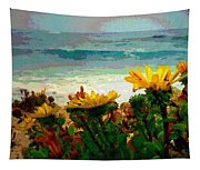 A Flowery View Of The Surf Watercolor Tapestry