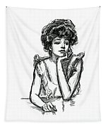 A Gibson Girl Posing Tapestry