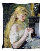 A Girl Crocheting Tapestry