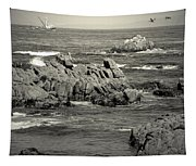 A Good Day Fishing On Monterey Bay In Black And White Tapestry