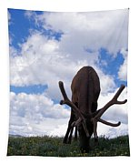 A Grazing Bull Elk Up Close Tapestry