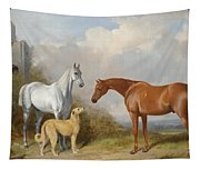 A Grey And A Chestnut Hunter With A Deerhound Tapestry