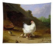 A Hen With Her Chicks Tapestry