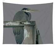 A Heron On Watch  Tapestry