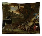 A Huntsman Cutting Up A Dead Deer, With Two Deerhounds Tapestry