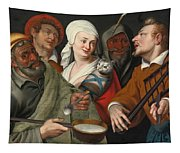 A Lady Holding A Swaddled Cat A Man With A Pan Of Porridge Another Playing With Fire Irons And Two O Tapestry