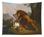 A Lion And Tiger In Combat Tapestry