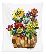 A Lovely Basket Of Flowers Tapestry