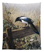 A Magpie Observing Field Mice Tapestry