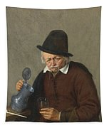 A Man Holding A Tankard And A Glass Tapestry