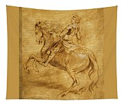 A Man Riding A Horse Tapestry